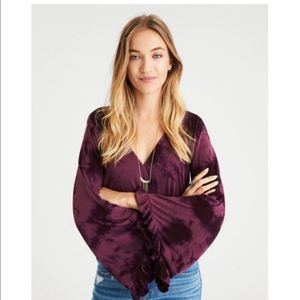 American Eagle | Purple Tie Dye Bell Sleeve Top